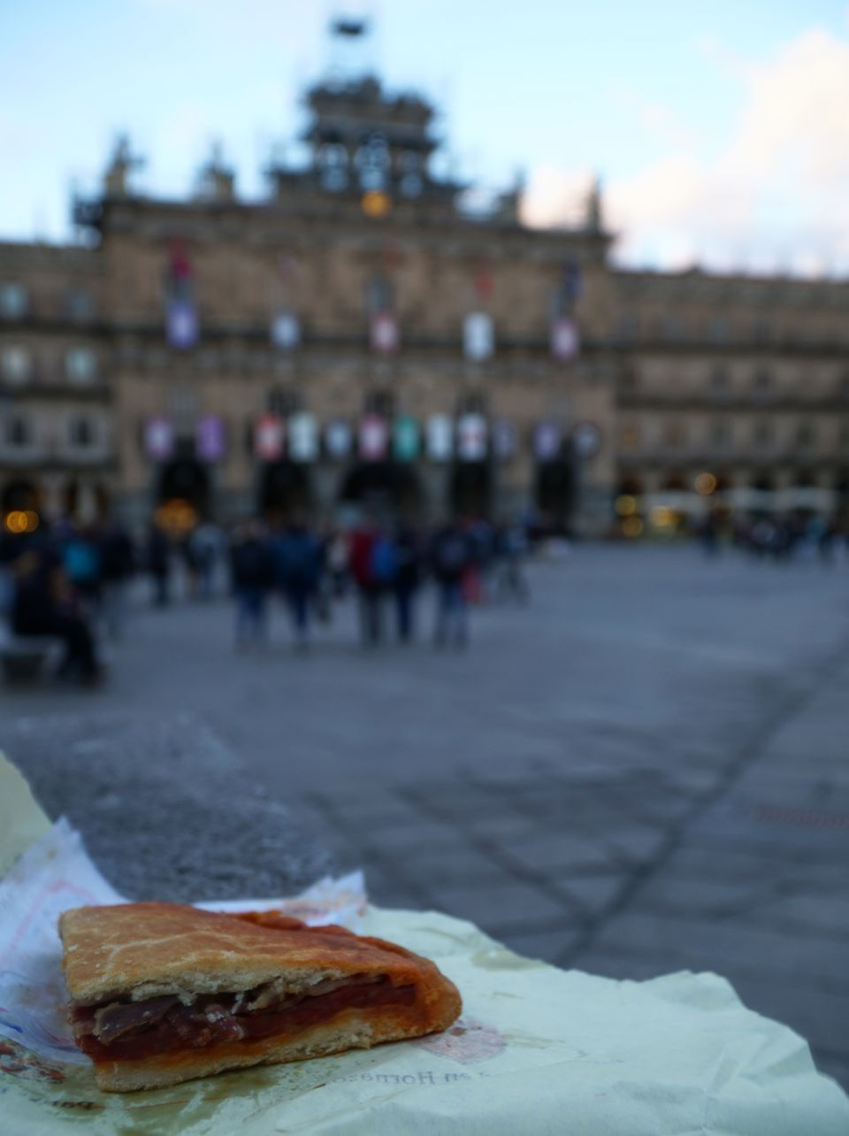 Hornazo chorizo and ham pastry, in Plaza Mayor in Salamanca