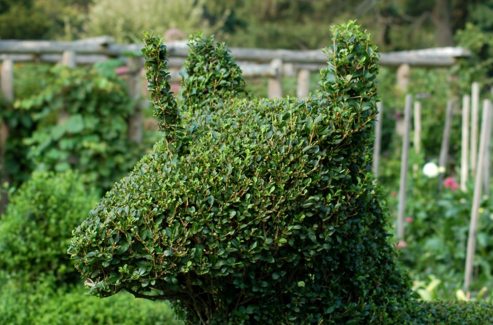 Topiary of a baby unicorn.