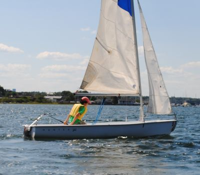 Turning Sailboat Across the Wind