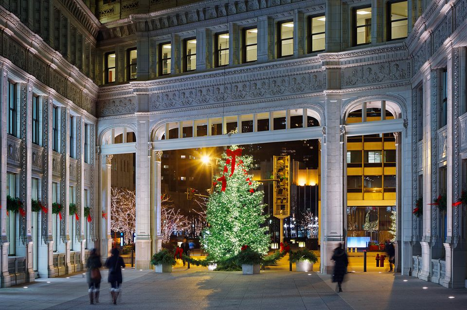 Detail of The Wrigley Building during The Holidays, Chicago.