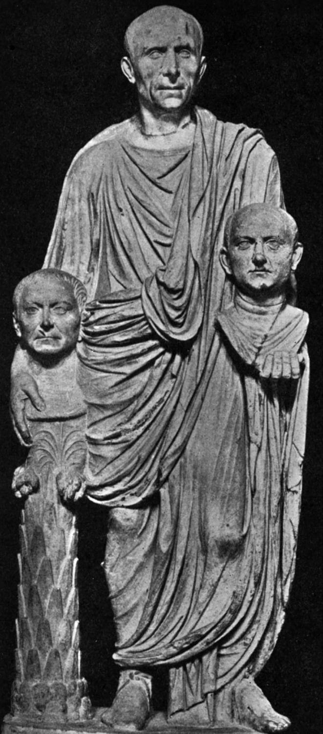 Statue of Patrician With Death Masks