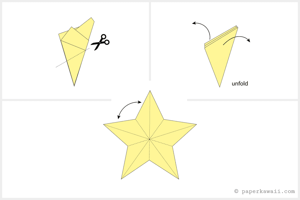 Easy origami star tutorial for How to make a star with paper step by step