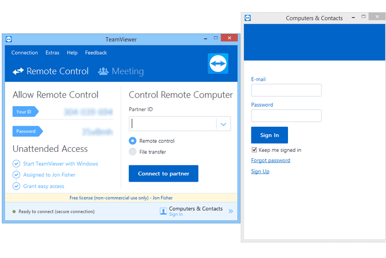 Screenshot of TeamViewer v12 in Windows 8