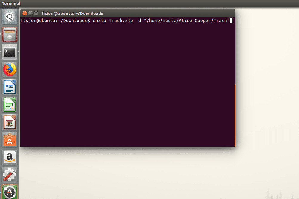 Screenshot showing how to use the unzip command to extract files to a different folder