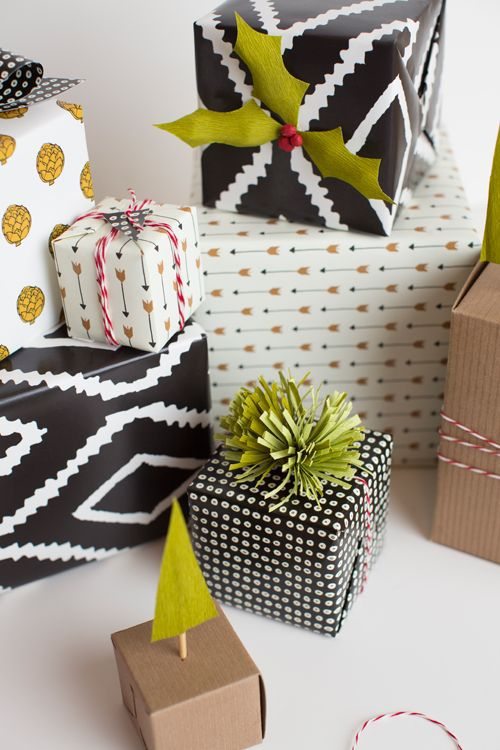 A selection of modern Christmas wrappings