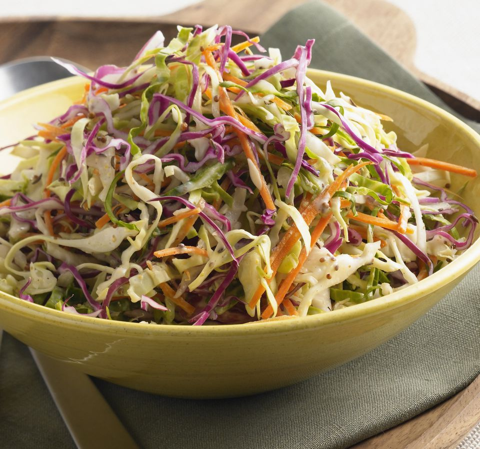 Homemade coleslaw with purple cabbage
