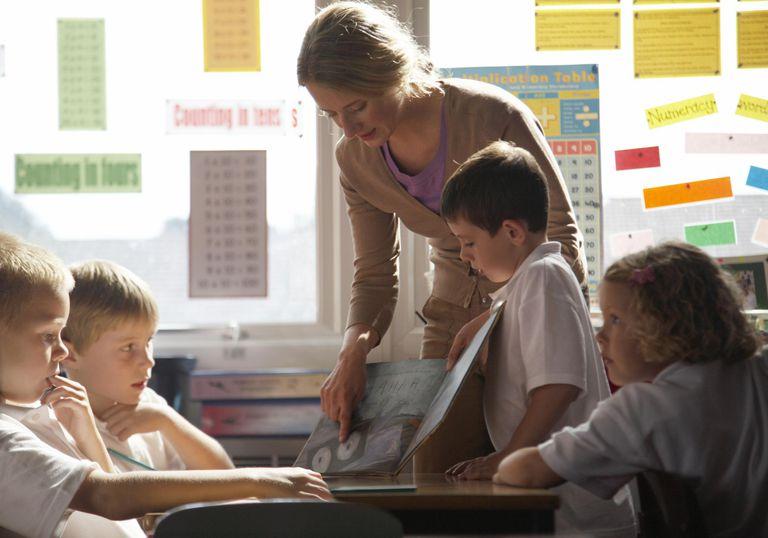 Female teacher showing book to children (5-7) in class