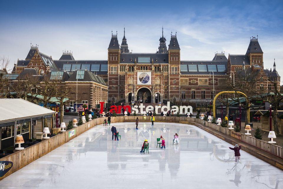 Netherlands, Amsterdam, Rijksmuseum, ice skating rink