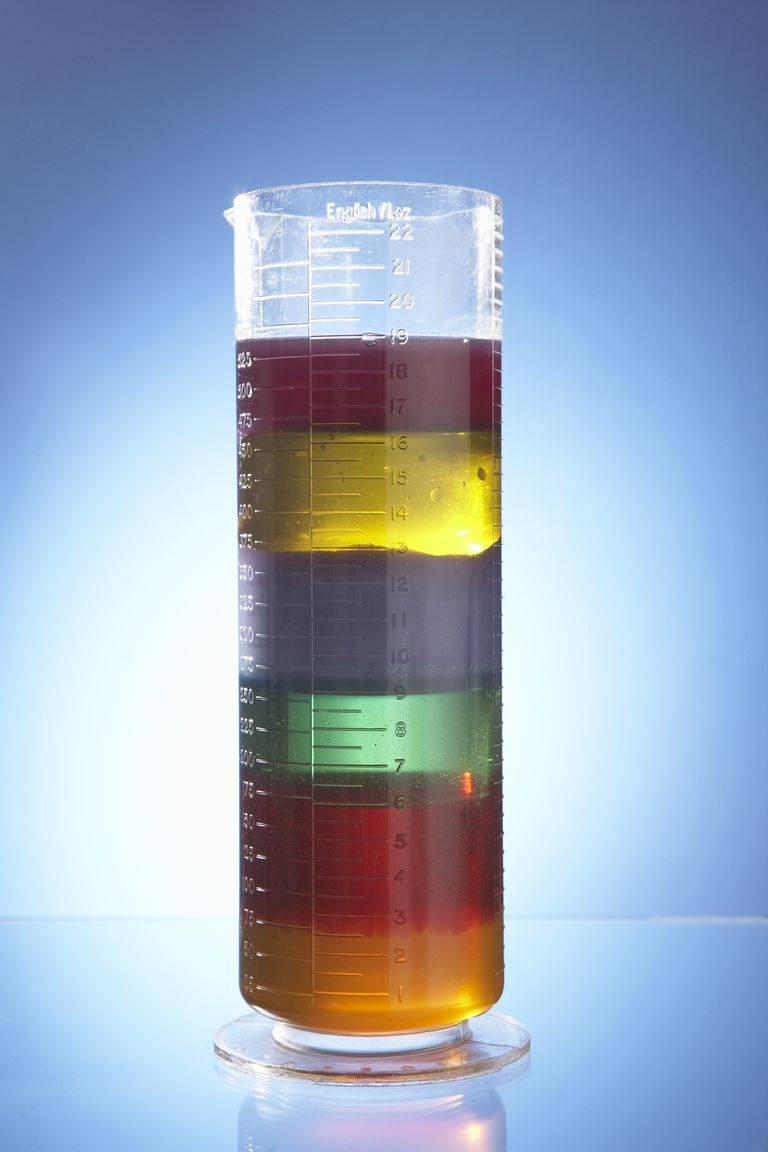 You can make a colorful many-layered density column using common household liquids.