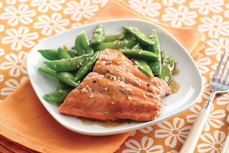 Hungry Girl's Sesame Salmon & Snap Peas