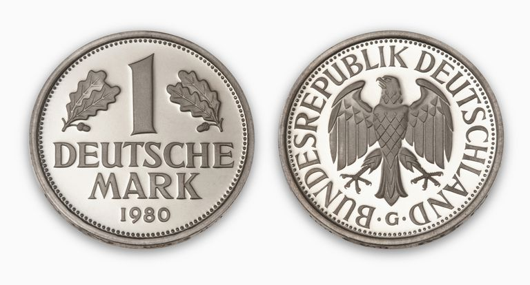 Deutschmark coin, close-up, elevated view