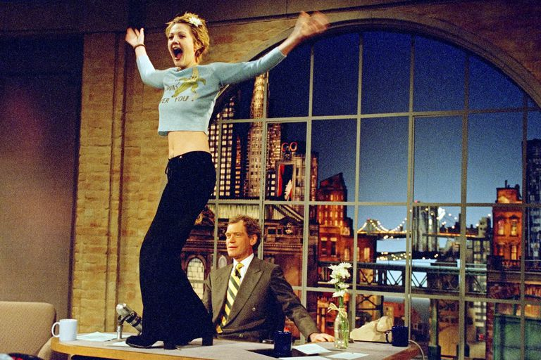 Actress Drew Barrymore visits David Letterman