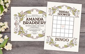 11 free printable bridal showers bingo cards a bridal shower bingo card and bridal shower invitation on a wooden table surrounded by flowers negle Choice Image