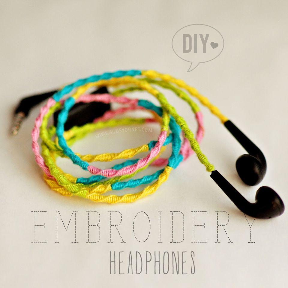 diy embroidered headphones
