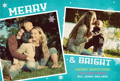 A Christmas photo card in blue and white.