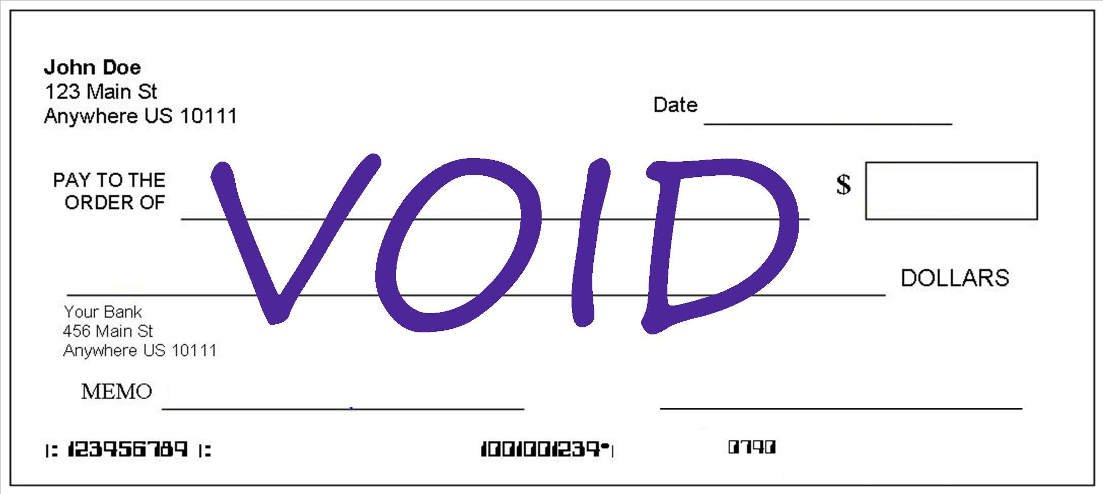 Using a voided check how to do it ccuart Image collections