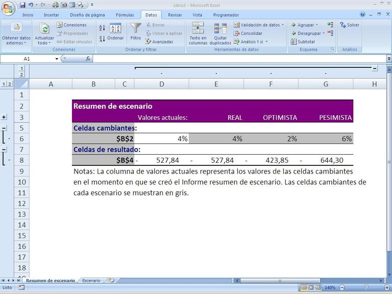 Escenarios de datos en Excel
