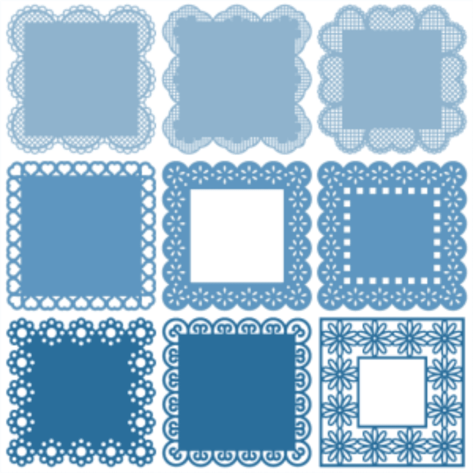 square lacey svg frames