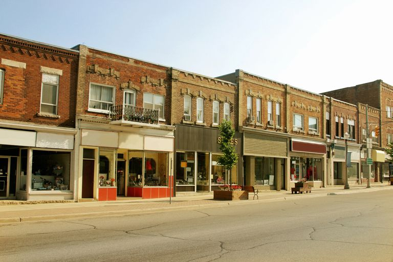 Storefront buildings in a small town