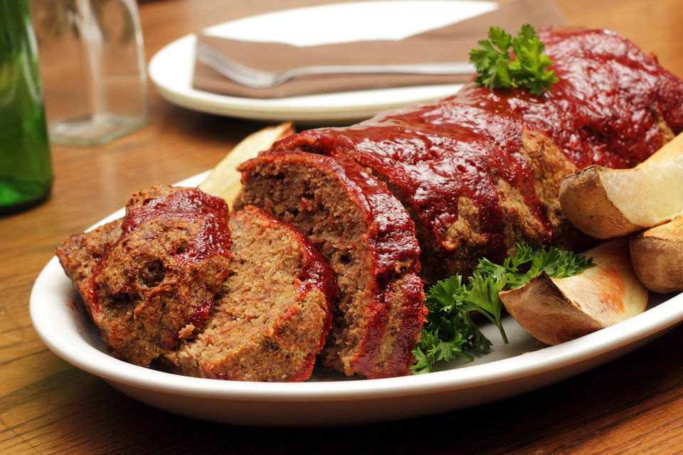 Close-up shot of a plate served with meatloaf