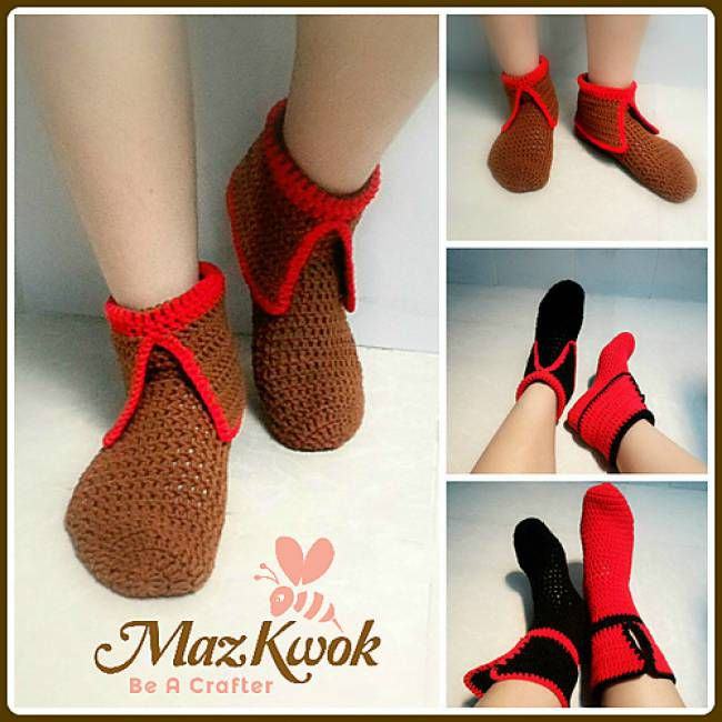 Collared Crochet Socks Free Pattern