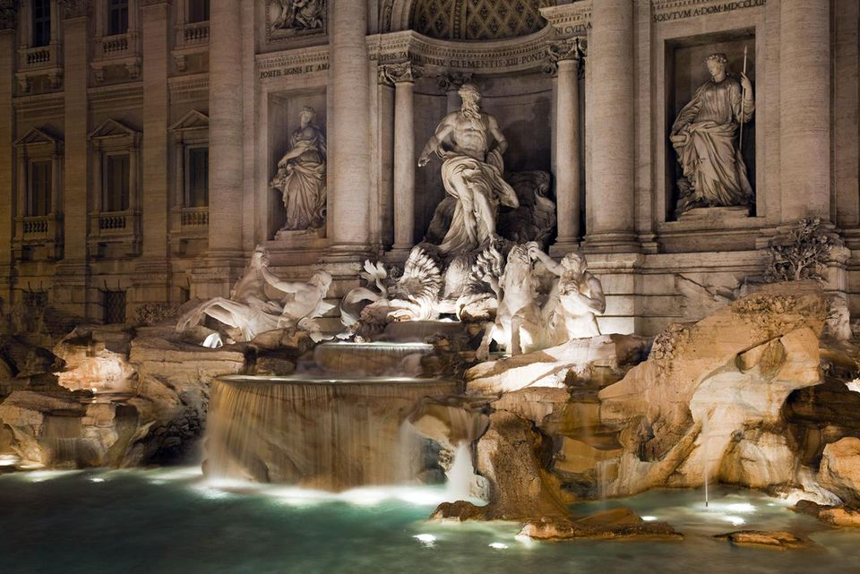 The Trevi Fountain at night
