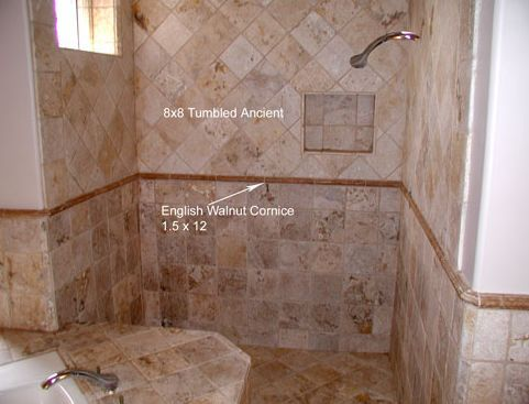 Tumbled Stone Bathroom Shower Idea