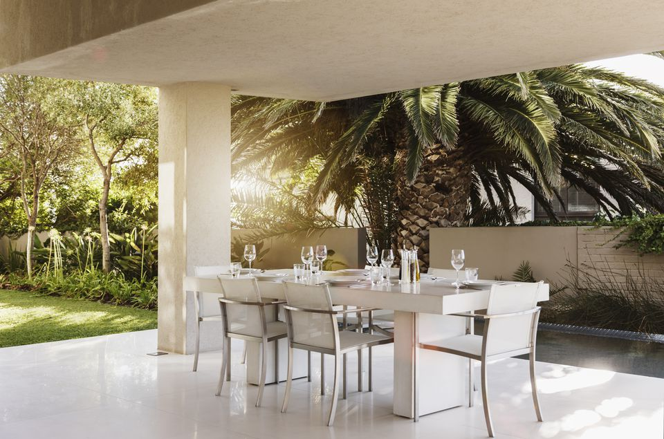 modern covered patio covered concrete slab patio for outdoor dining astronaut imagesgetty images - Concrete Patio Design Ideas