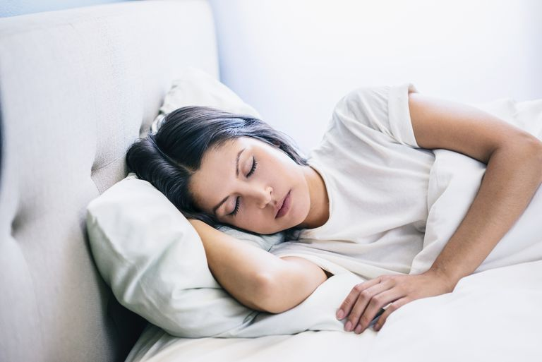A woman's eyes remain closed while lying in bed even though the eyes may move during paradoxical, or REM, sleep