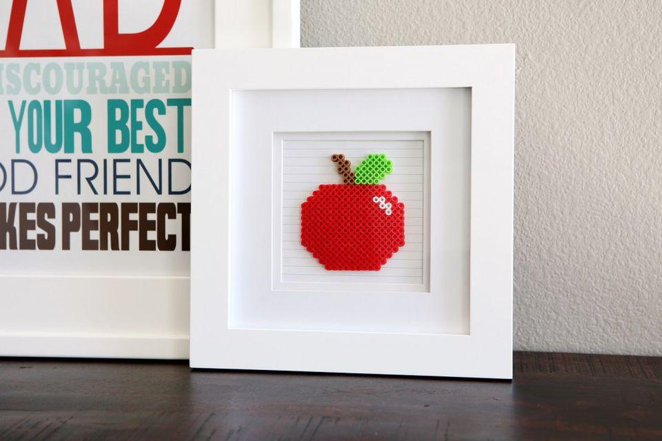 Framed Perler Bead Apple