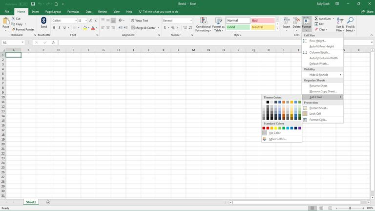 on excel sheet