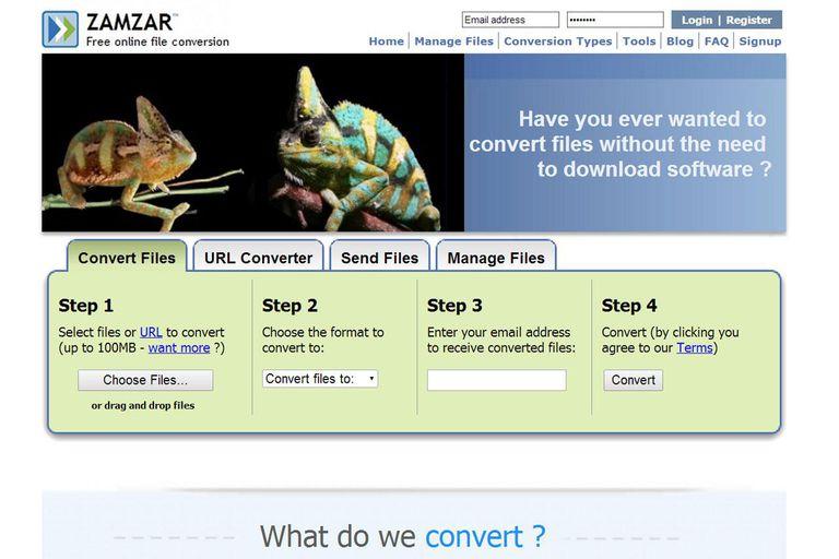 Screenshot of zamzar.com