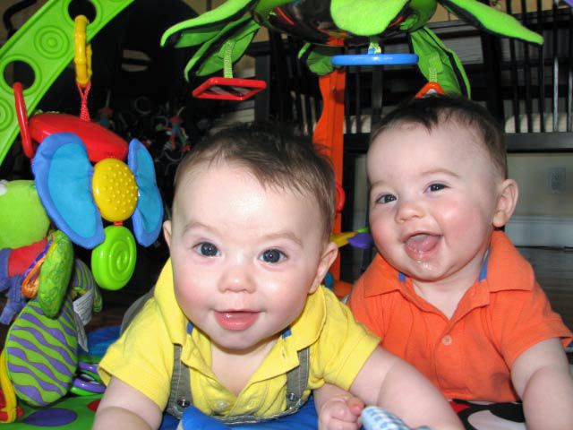 8 month old twins, Jake and Ethan
