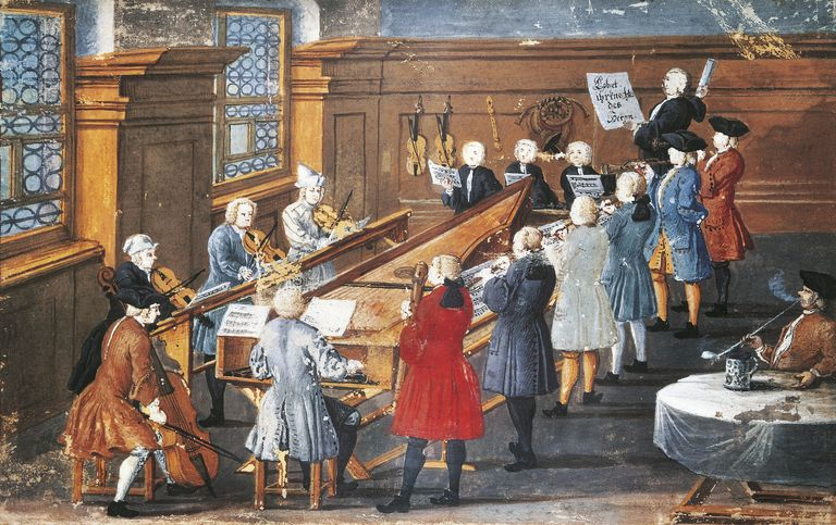 Vocal and instrumental concert in the Baroque period, 1771, gouache. Germany, 18th century.