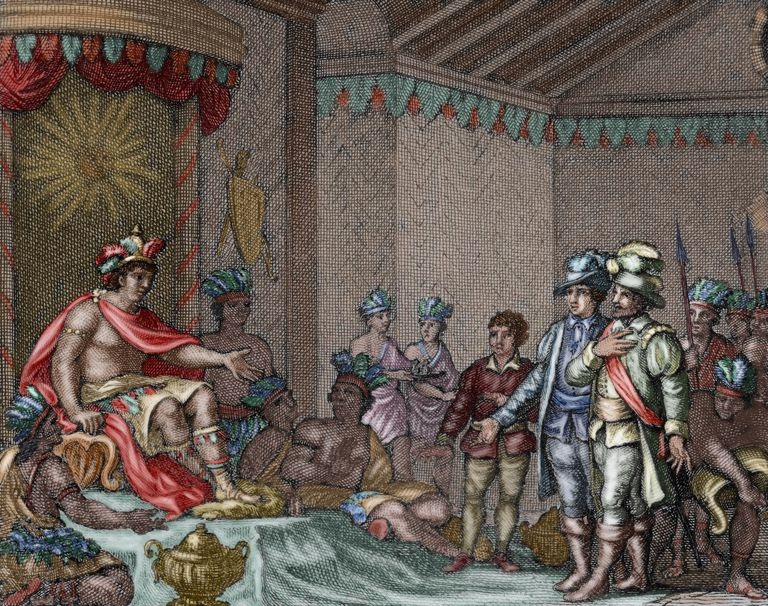 Submission of Atahualpa. Colored engraving, 1807.