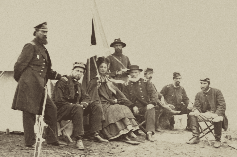 Kate Chase Sprague With Gen. J. J. Abercrombie and Statff, About 1863