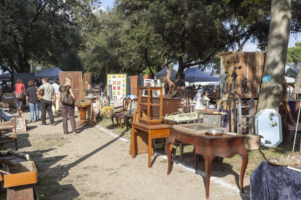 Antique furniture and housewares at garage sale