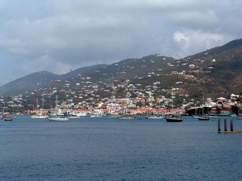Sailing into Charlotte Amalie at St. Thomas in the US Virgin Islands