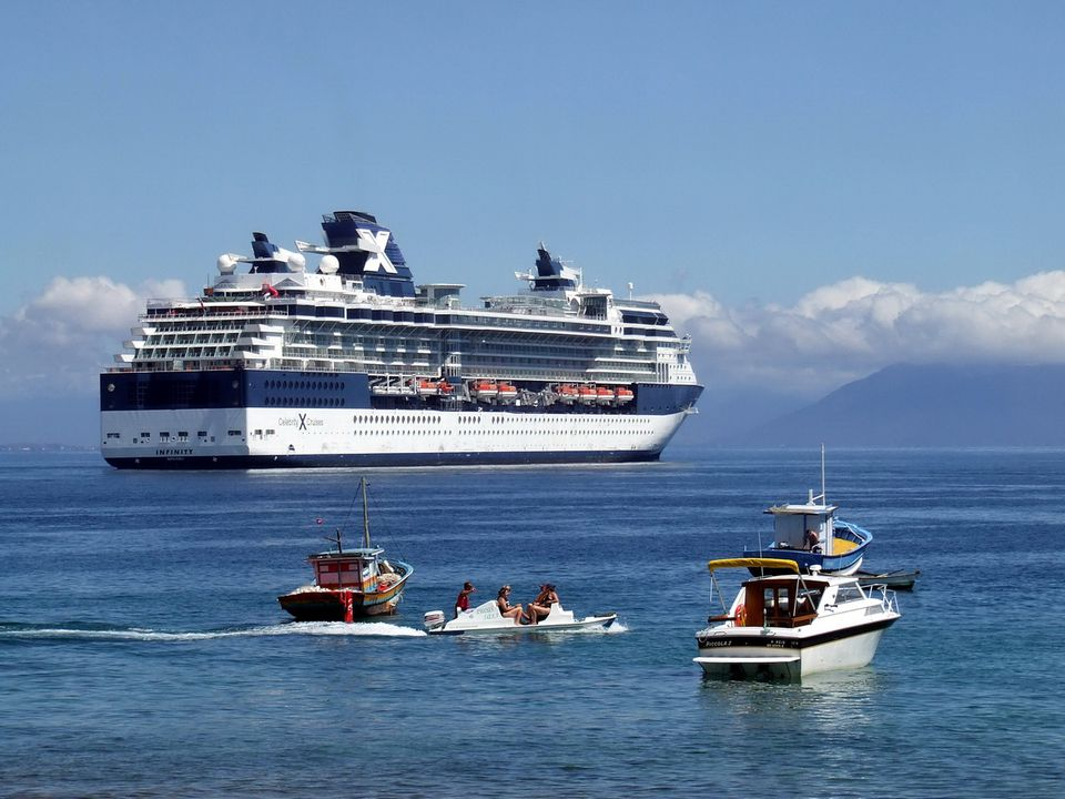 Celebrity Infinity cruise ship at Buzios, Brazil