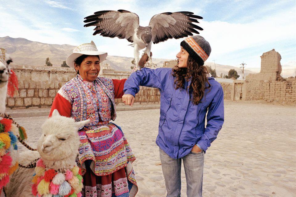 Peru tourist with eagle