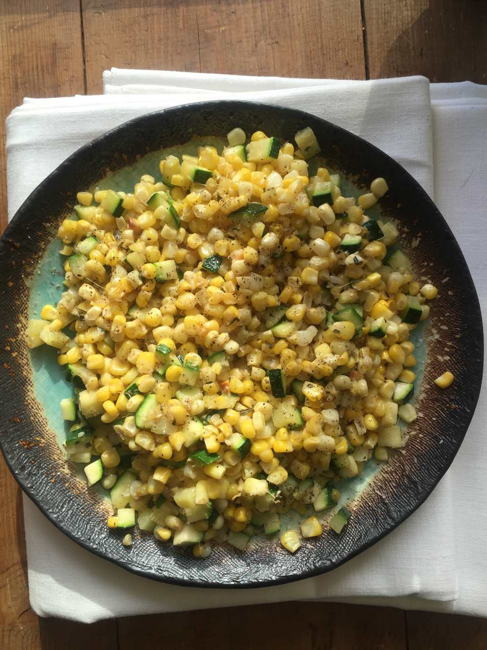 Sauteed Corn and Zucchini in Lemony Brown Butter