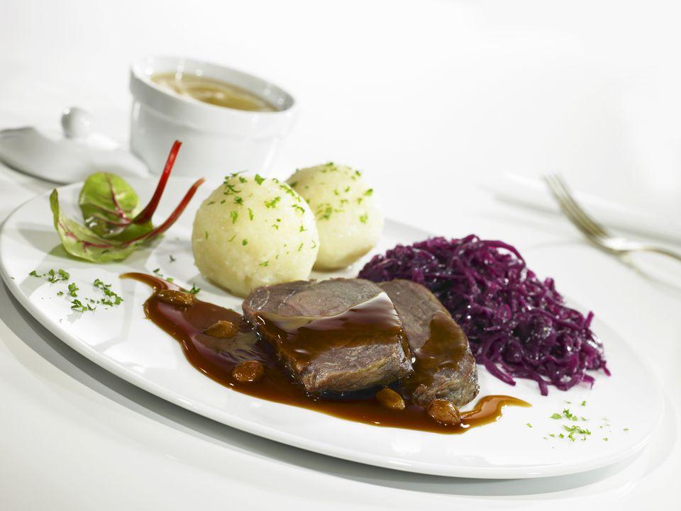 Sauerbraten (braised beef in vinegar) with red cabbage