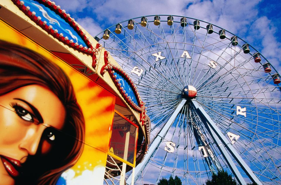 Ferris wheel and fairground ride, Texas State Fair, Fair Park, Dallas, United States of America