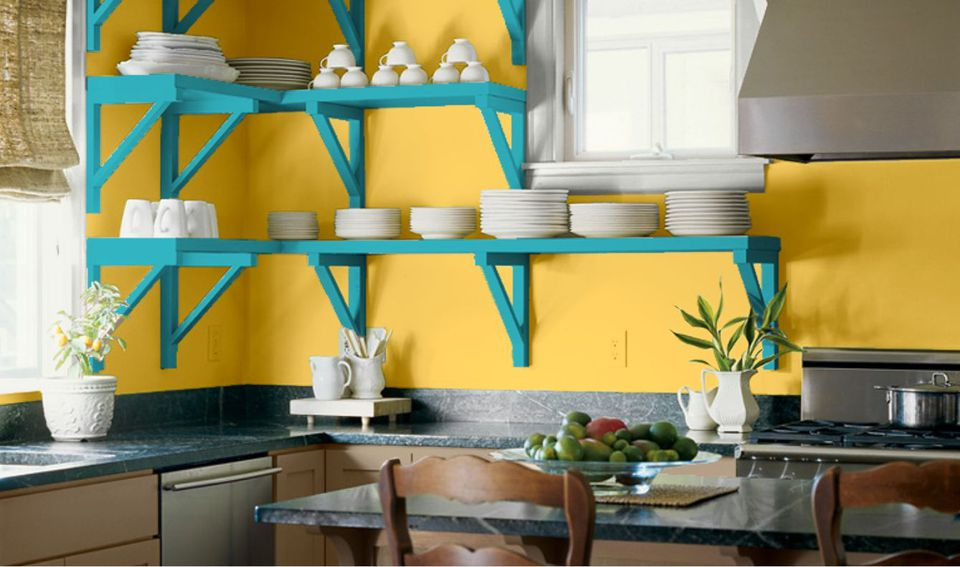blue kitchen colors. Caribbean  Islander Feel With Yellow and Blue Kitchen Color Scheme Ideas Pictures of Paint Colors