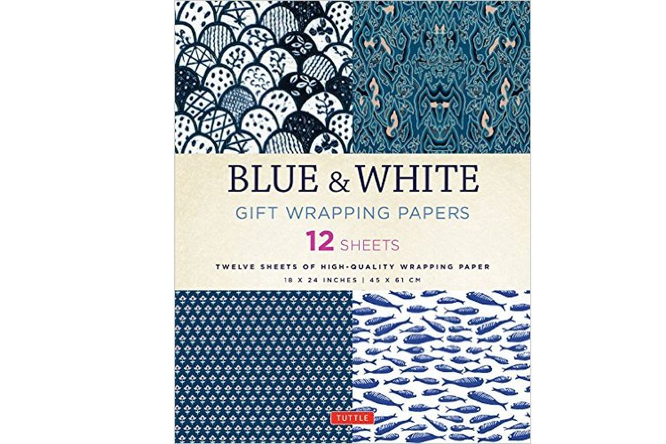 Blue and white gift wrapping papers book cover