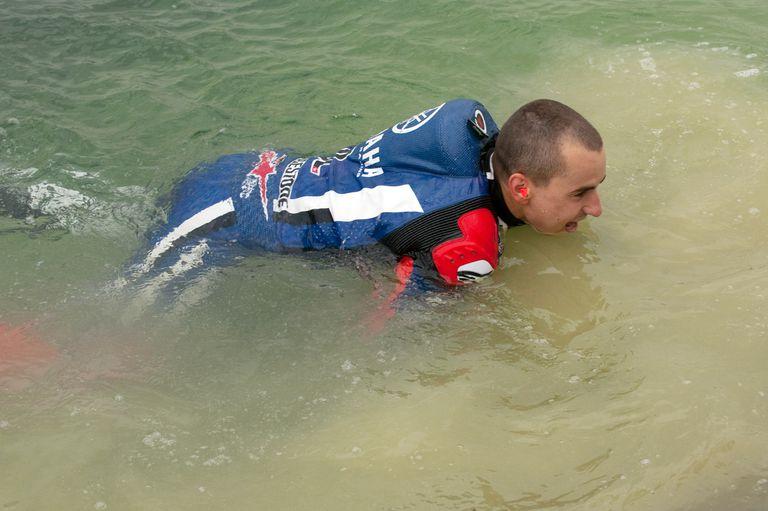 Motorcycle racer in water