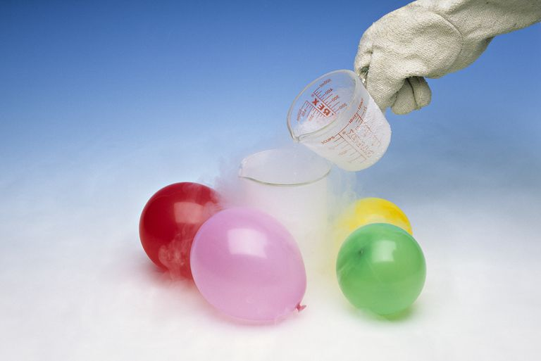 Charles's Law: Liquid nitrogen is added to a beaker. When air-filled balloons are placed in liquid nitrogen at 77K the volume of air is greatly reduced. When out of the nitrogen and warmed to air temperature, they re-inflate to original volume.