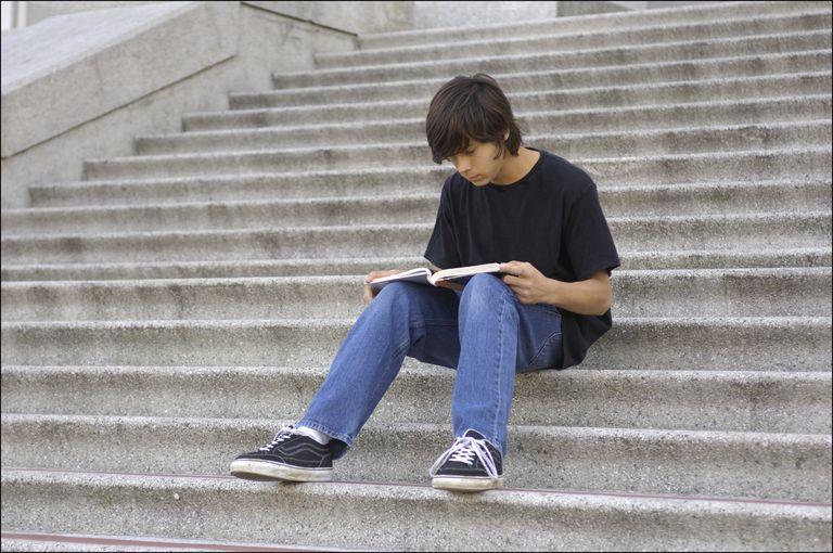 Photo on boy reading