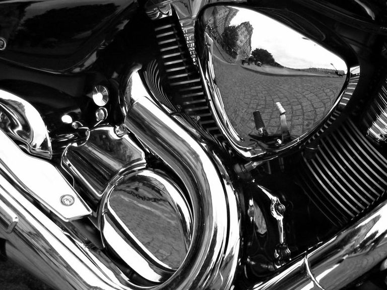 This is decorative chrome on a motorcycle.