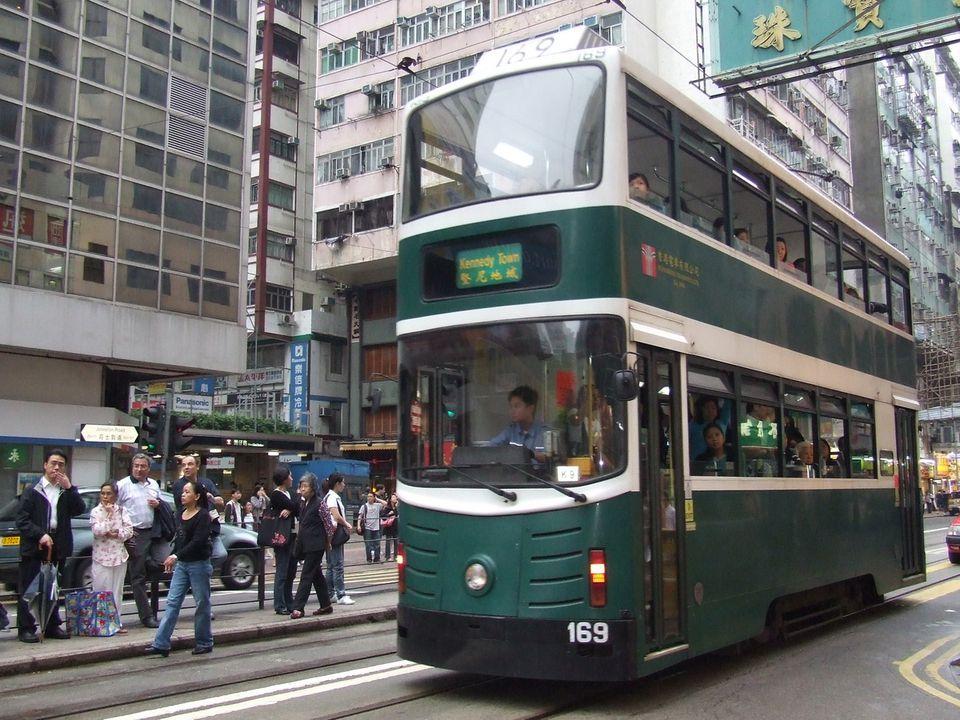 Hong Kong Double-Decker Tram in the Wan Chai District of Hong Kong